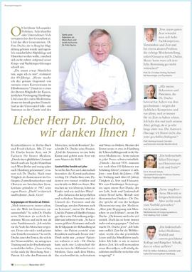 Artikel über Herrn Dr. Fritz Ducho im Hamburger Ärztemagazinv on Oktober 2017